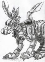 MetalGarurumon final sketch by Kitamon