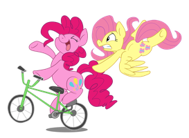 Pinkie and Fluttershy's Joy Ride by sophiecabra