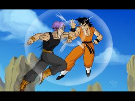 M Trunks vs Goten by brocken-jr