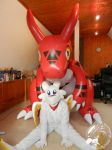 Photoshooting! Chibisuke and Guilmon by Starfighter-Suicune
