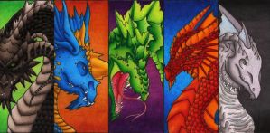 Chromatic Dragon Bookmarks by Sky-Shifter