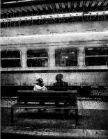 Waiting for a train by AmandaBlack