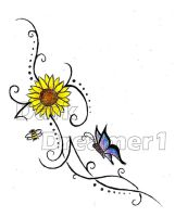 Sunflower, butterfly and bee. by Dark-Dreamer1
