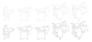 Pichu Evolutions Linearts by northstar2x