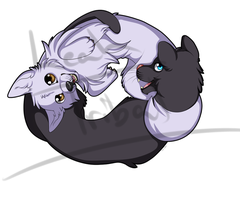 T-shirt Design - Yin-Yang Panther and Wolf by Leah-Tribal