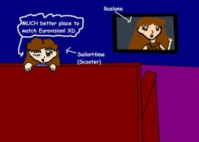 Me watching esc on the sofa by SailorHime