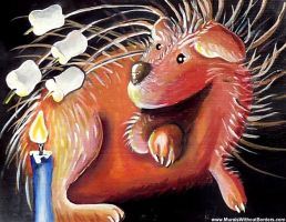 Porcupine Roasting Marshmallows by MuralsWithoutBorders