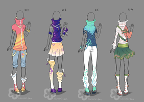 Colorful Outfit Designs - sold by Nahemii-san