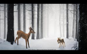 Bambi in the Snow by RavenEvert