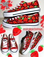 Strawberry Shoes by artsyfartsyness