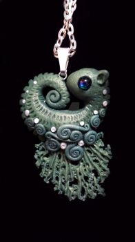 seaweed green seahorse polymer-clay pendant by carmendee