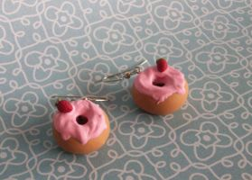 Strawberry Doughnut Earrings by Cosmic-Outcast