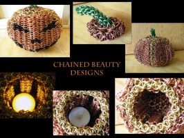 Chainmaille Jack-O-Lantern Details by ChainedBeauty