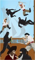 Ninjas vs Pirates by anhonestpuck