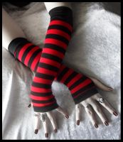 Red - Black Stripe Arm Warmers by ZenAndCoffee