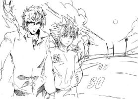 Akaba and Sena sketching by azr2pd