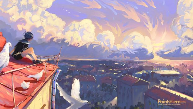 Fishing on the roof by Hangmoon