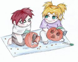Temari and Gaara : Pumpkins by Riku-X-Gaara