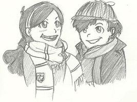Mabel and Dipper - Hufflepuff and Sherlock by Mababwion1