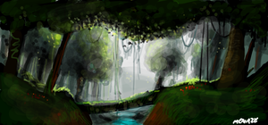 Forest river speedpainting by Moenitz