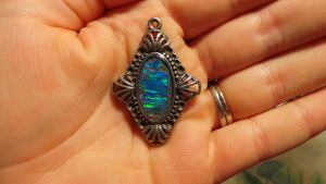 Small Lab Created Opal Mosaic Pendant by Eviecats