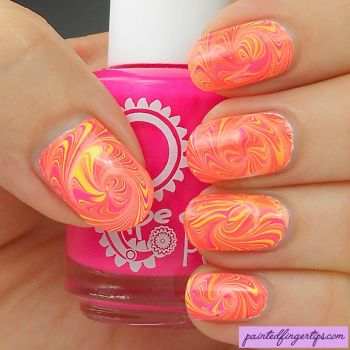 Pink-yellow-neon-swirls-spiral-water-marble by Painted-Fingertips