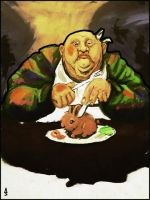 A Fat Man Eating A Bunny by muk1