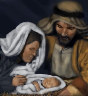 baby Jesus, Mary, and Joseph by sweetwreck