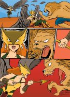 Hawkgirl: NOBODY HURTS MY BOYFRIEND!!!!!!!! by WibbitGuy