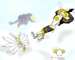 Child Lucemon + Fallen Lucemon by MiniDragonfly
