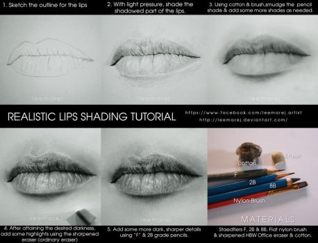 Realistic lips drawing tutorial by leemarej