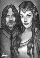 Arwen and Aragorn BW by Akadio