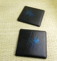 Fused Glass Honey Bee Coasters by trilobiteglassworks
