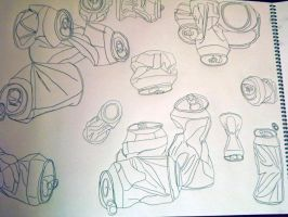 Soda Can Contour Drawing by FFgeek97116