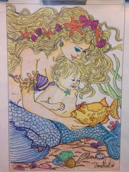 Mermaid and Child - Adult Coloring by LFHaven