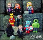 Avengers plushies ASSEMBLED by ChaosNDisaster