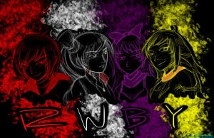 Team RWBY Sketch Silhouette by RAFstoryart