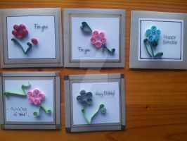 Quilling flower cards by Windsong-Cat