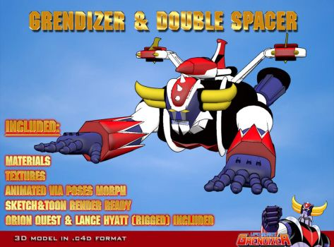 Grendizer and double spacer 3D model by staiff