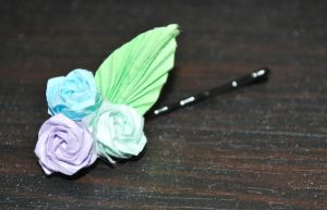 Origami Rose Hairpin by origamiokatu