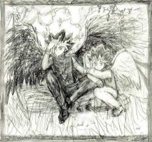 Dark and Light Angels Sketch by Lizeth