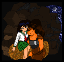 Kagome and Koga in a Cave by bluebellangel19smj