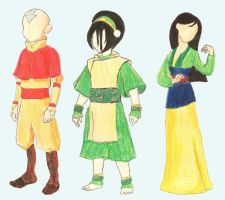 Aang, Toph, Mulan by Beautelle