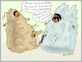 Katara and Toph tickled by Momo by klokol