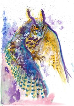 Watercolour - Eagle Owl by Sio64