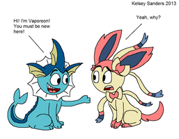 Vaporeon and Sylveon (First Meets Last) by KelseyEdward