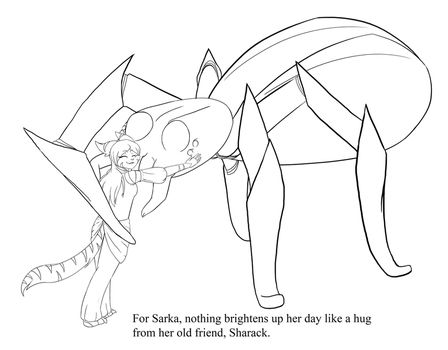 Colouring Page #1: Sarka and Sharack by felinemon