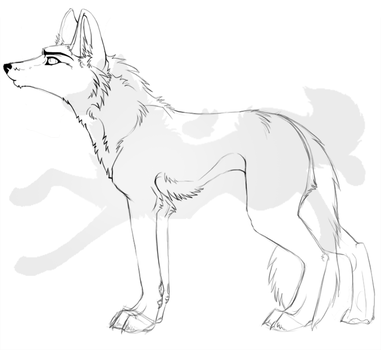 Wolf Lineart WIP by nightspiritwing