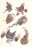 Gastly and Haunter by GlossyToast