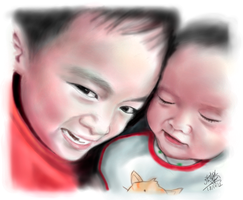 iPad finger painting of my beloved kids :) by chaseroflight